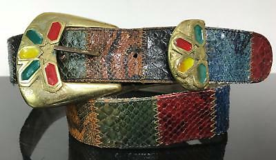 Vintage Multi-Color Rainbow Hippie Snakeskin Wanderlust Belt Sz 30