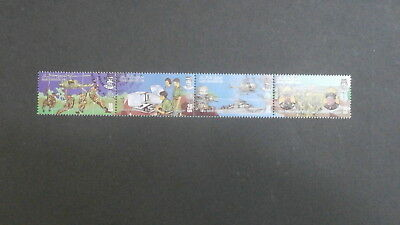 1984 Brunei strip of four used stamps  - Armed Forces Day - 10s, 20s, 50s & 75s