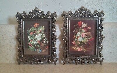 Set of 2 Small Vintage Ornate Rectangular Brass Framed Floral Pictures Italy