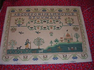 "Antique Cross Stitch Sampler 22""x 16""  On Rustic Linen"