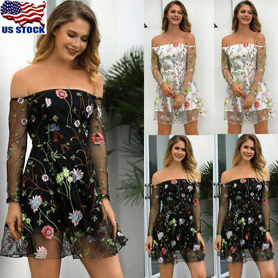Sexy Women Lace Mesh Sheer Embroidered Floral Tops Off Shoulder Party Mini Dress