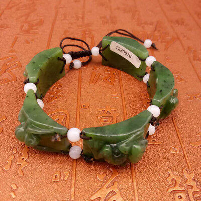 100% Natural Hand-Carved Hetian jade Bracelets   A328