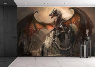 Wall26 - War with the Dragon on Castle - Wall Mural Home Decor - 100x144 inches