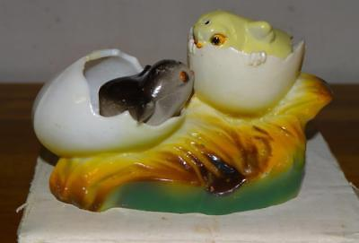 "Vintage ""HATCHING CHICKS in EGGS"" CHICKENS Salt & Pepper SHAKER SET w/BOX ~RARE!"
