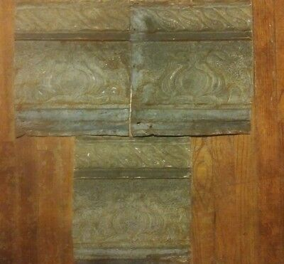 3 matching Antique Flur-de-lise tin ceiling tiles. Each 14in x 12in.