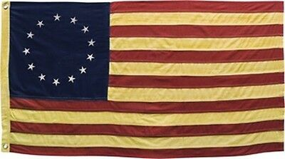 "Betsy Ross Cotton Tea Stained Flag - Small 17"" x 28"" Free Shipping!"