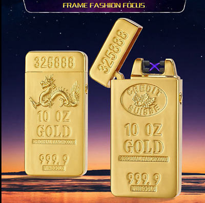 USB Electric Dual Arc Rechargeable Windproof Plasma Flameless Lighter Gold brick