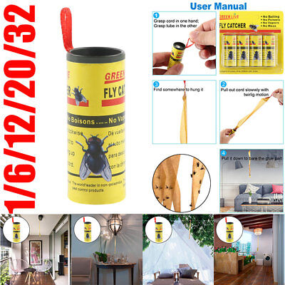 1/12/24/32 Sticky Fly Bug Wasp Paper Catcher Trap Indoor Greenhouse Fly Catchers