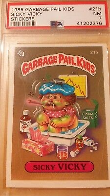 1985 garbage pail kids series 1 #21b sicky vicky psa graded,grade 7nm