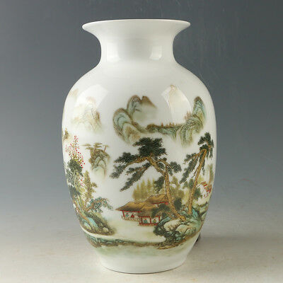 Chinese Porcelain Hand-painted Beautiful Mountains Vase W Qianlong Mark R1195.a