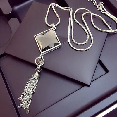 Women Silver Rhinestone Big Long Sweater Necklace Square Crystal Tassel Pendant