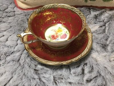 PARAGON Vintage Red and Gold Flower Motif Cup and Saucer