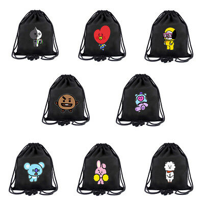 Bangtan Boys Backpack BTS BT21 Shoulder Bag String Bag Draw String Carry  Sack US