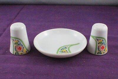 VINTAGE 1970's Malaysia Airlines Salt and Pepper Shaker Set + Pin Dish  NORITAKE