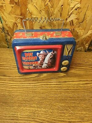 Roy Rogers TV Tin Tote Lunchbox Roy Rogers & Trigger Looks Like TV Set