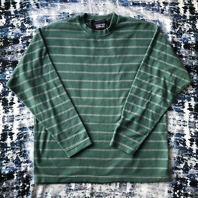 Patagonia Mens Micro D-LUXE Striped Crewneck Pullover Sweatshirt Large