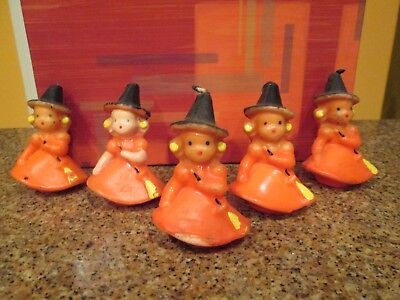 GURLEY candles   HALLOWEEN   cute witch  total of 5