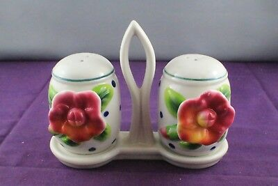 VINTAGE Porcelain Salt and Pepper Shaker Set with Stand
