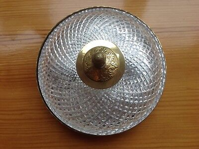 Vintage Crystal And Brass Two Light Ceiling Fixture