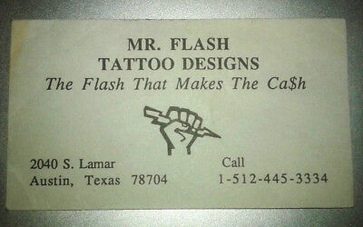 Vintage Mike Malone Mr. Flash Tattoo Designs Business Card 1980's