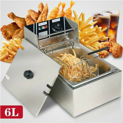 2500W 6L Commercial Electric Deep Fryer w/Basket Restaurant Fast Food French Fry