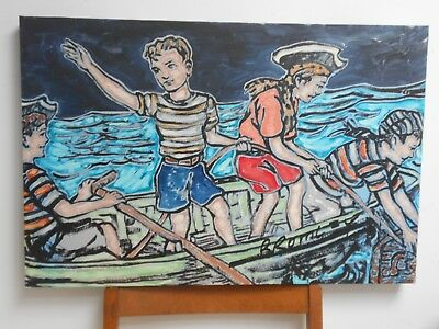 David Bromley Original Painting PIRATES  50x75cm with COA  BLUE,BLACK & RED