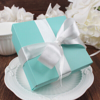 100x Tiffany Sweets Candy Box Square Jewelry Gift Boxes Ribbon Wedding Favor
