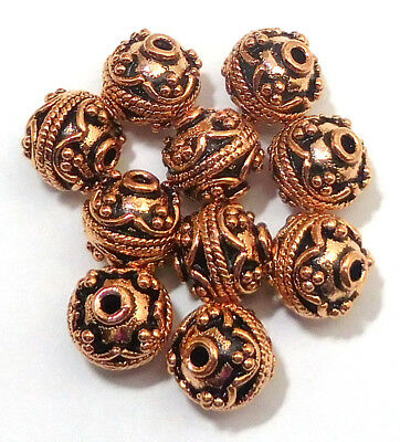 11 Pcs 10Mm Solid Copper Metal Handmade Bead  Antique Copper B 671