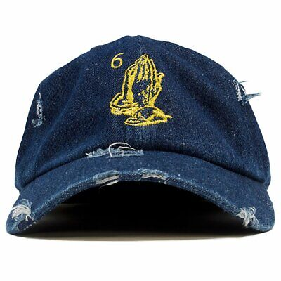 new style 5e9a0 cd0d1 6 God Praying Hands Denim Vintage Distressed Dad Hat