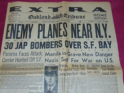 Dec. 9, 1941 Oakland Ca Newspaper: Wwii Japanese Planes Near Ny; Fly Over Ca