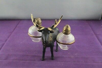 Vintage Metal Reindeer Salt and Pepper Set with Glass Shakers and Brass Tops