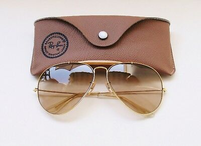 Vintage B&L Ray Ban USA Aviator Outdoorsman Light Brown Changeable 62 MM w/ Case