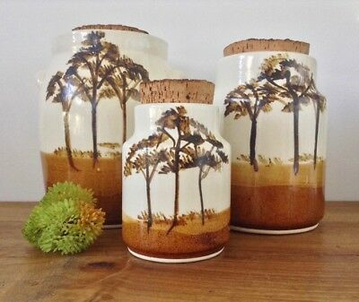 Hand Painted & Glazed Ceramic Storage Jars Cork Stopper Australian Pottery