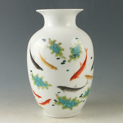 Chinese Porcelain Hand-painted Fish Vase W Qianlong Mark R1170.a