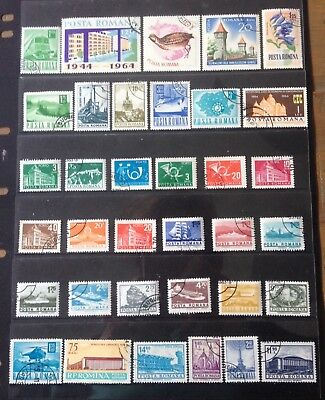 Romania 35 Assorted Selection Stamps Mainly Cto With Gum