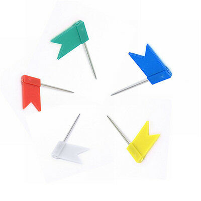 Flag Marker Shape Map Pins Cork Notice Board Push Pin Office Home Assorted_w