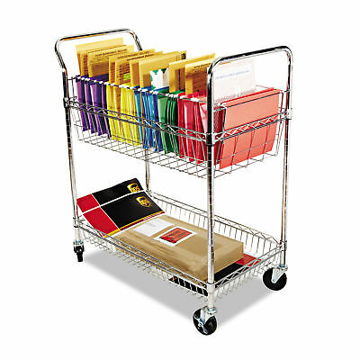 Alera Carry-all Cart/Mail Cart, Two-Shelf, 34-7/8w x 18d x 39-1/2h, Silver -ALEM