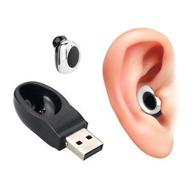 Mini Invisible Bluetooth Earphone Car Headset Earbud With Magnetic USB Charger