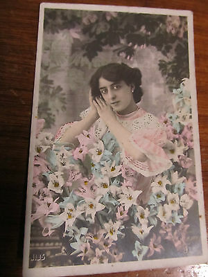 Vintage french postcard, Glamour Lady with Flowers, used 1928