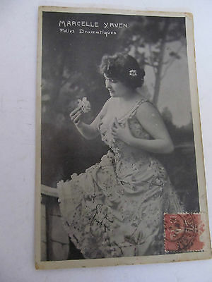 Antique french postcard PHOTO Glamour Lady Marcelle YRVEN writtren on rear, used