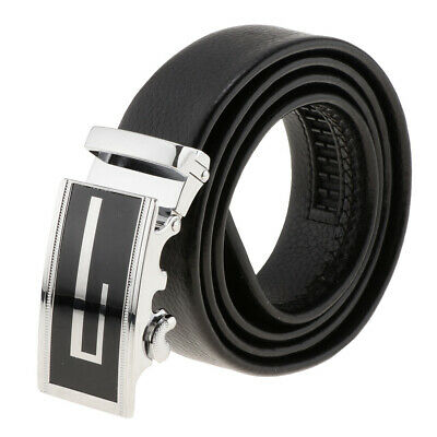 Mens Casual Waistband Leather Automatic Buckle Slide Belt Waist Strap Belts Gift