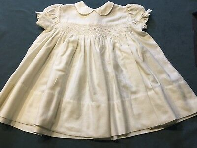 VINTAGE 1950s/60s  HANDMADE IVORY SPUN COTTON BABY / DOLL DRESS (SMOCKING)
