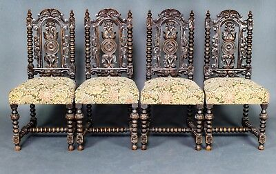 A Fine Set Of Victorian English Antique Carved Oak Dining Chairs 19th Century