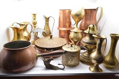 Job lot of old brass  and copper  items 20 in total