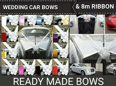 Wedding Car Decoration  (Fully Made Up Bows)  Ready To Go.  3 Or 5 Bows & Ribbon