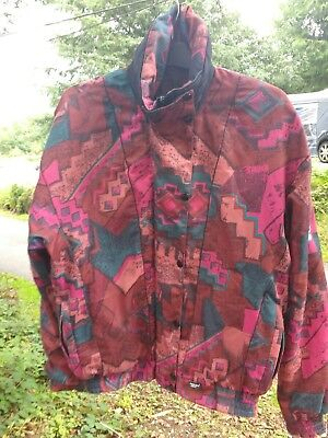 Proquip waterproof jacket gortex aztec print vintage pink orange size 12 1980s