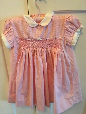 VINTAGE 1960s/70s  PINK GINGHAM THICK COTTON BABY / DOLL DRESS (SMOCKING)