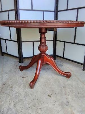 Antique Style Small Round Dining Table On Carved Pedestal Base & Quadraform Legs