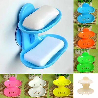 Strong Suction Cup Wall Mounted Bathroom Shower Soap Dish Holder Tray Drain Rack