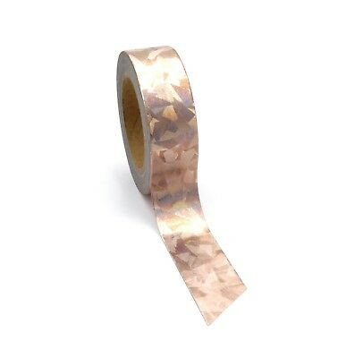 Washi Tape Rose Gold Holographic Copper Metallic Foil Abstract 15mm x 10m